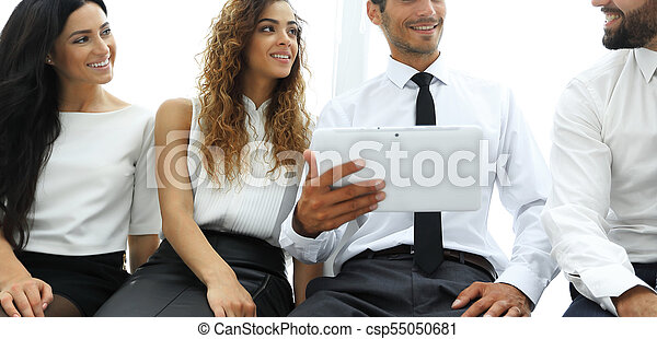business colleagues with digital tablet. - csp55050681