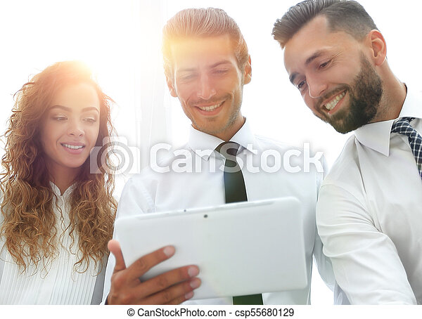 business colleagues with digital tablet. - csp55680129