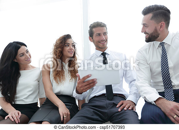 business colleagues with digital tablet. - csp51707393