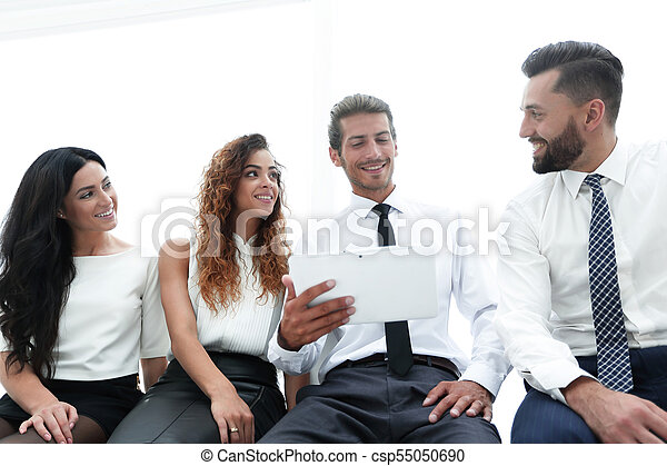 business colleagues with digital tablet. - csp55050690