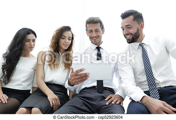 business colleagues with digital tablet. - csp52923604