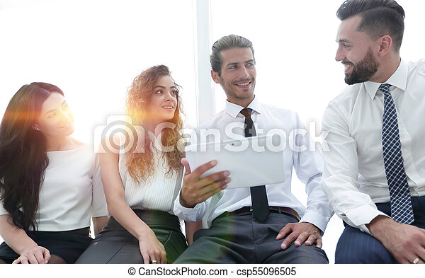 business colleagues with digital tablet. - csp55096505