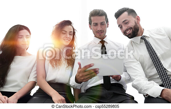 business colleagues with digital tablet. - csp55289805