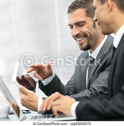business colleagues working with tablet computer. - csp53045573