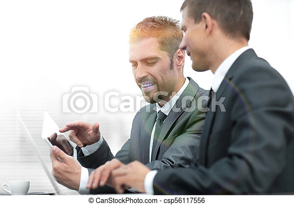 business colleagues working with tablet computer. - csp56117556