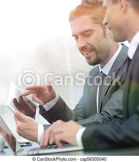 business colleagues working with tablet computer. - csp56305040