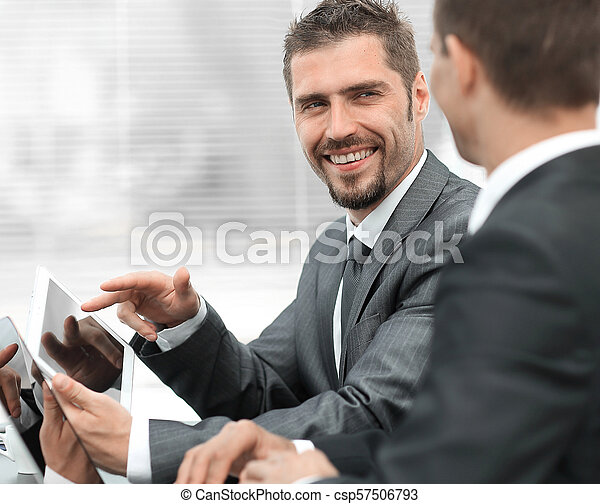 business colleagues working with tablet computer. - csp57506793