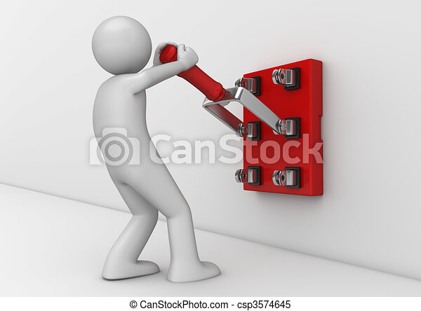 Business collection - Electrician with knife switch - csp3574645