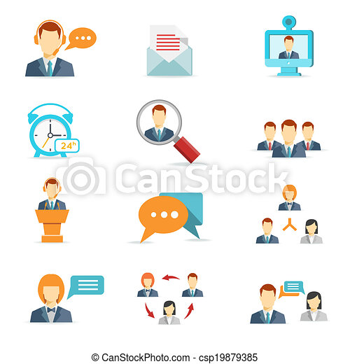 Business communication and web conference icons - csp19879385