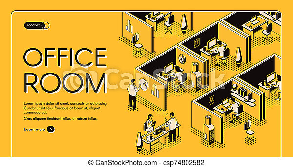 Business company office isometric website - csp74802582