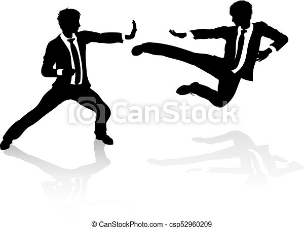 Business Competition Concept People Fighting Two Business People