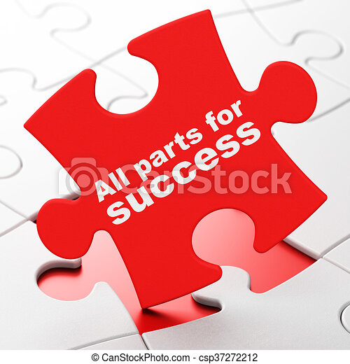 Business concept: All parts for Success on puzzle background - csp37272212
