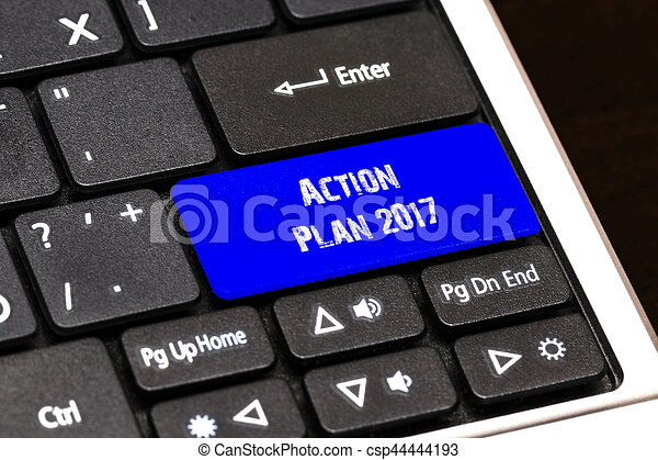 Business Concept - Blue Action Plan 2017 Button on Slim - csp44444193