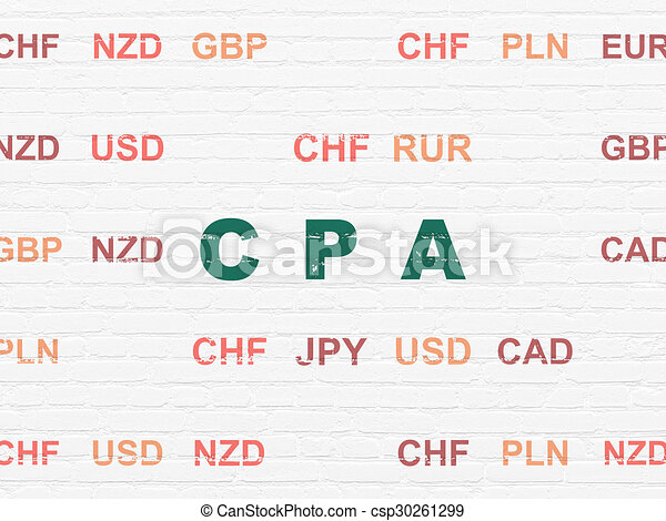 Business concept: CPA on wall background - csp30261299