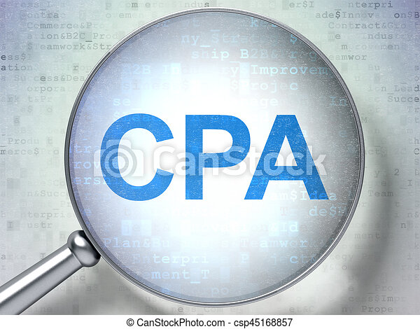 Business concept: CPA with optical glass - csp45168857