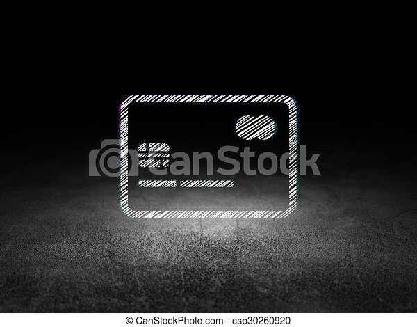 Business concept: Credit Card in grunge dark room - csp30260920
