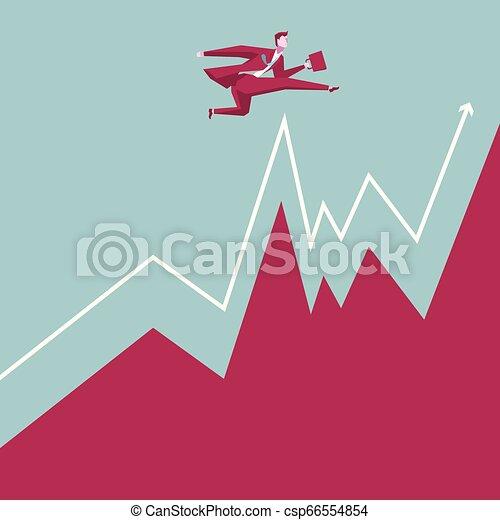 Business concept design. Businessman bouncing. Cross the chart. - csp66554854