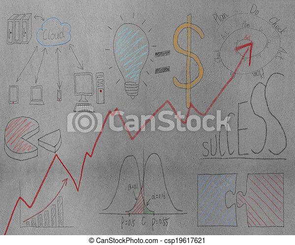 Business concept doodles on concrete wall - csp19617621