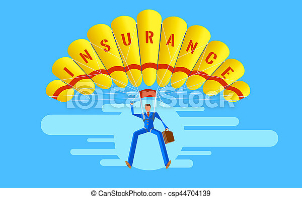Business concept. Elegant Character. Businessman people jumping on parachute of insurance. - csp44704139