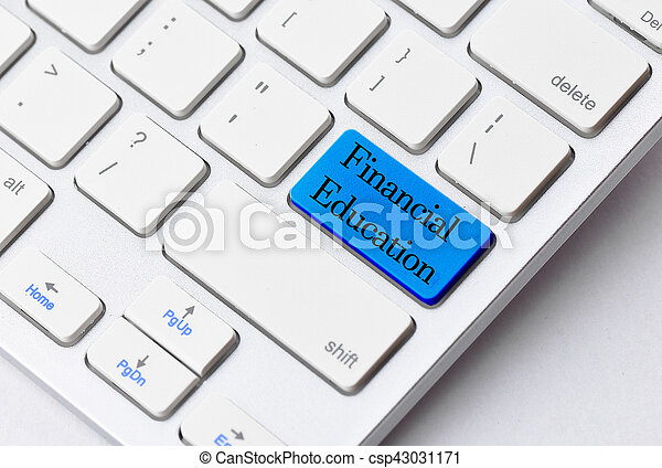 Business concept: Financial Education on computer keyboard background - csp43031171