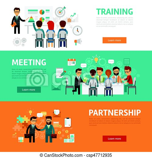Business Concept Flat Banners, Icons Set Of Office Meeting, Training,  Agreement, Partnership, Workplace And Project Ideas For Infographics, Design  Web ...