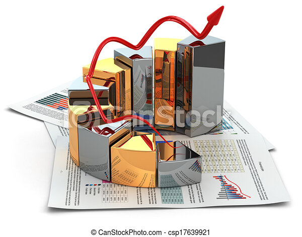 business concept graph and business plan 3d business concept