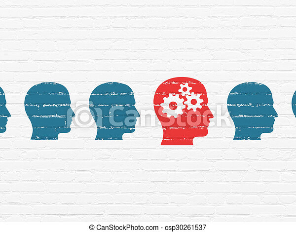 Business concept: head with gears icon on wall background - csp30261537