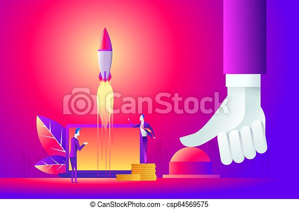 Business concept illustration of a businessman hand pushing start button, start up, war concept. - csp64569575