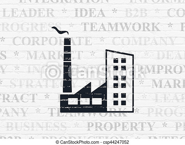 Business concept: Industry Building on wall background - csp44247052