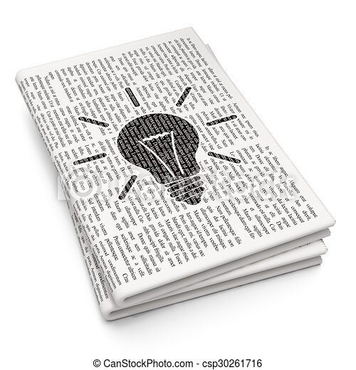 Business concept: Light Bulb on Newspaper background - csp30261716