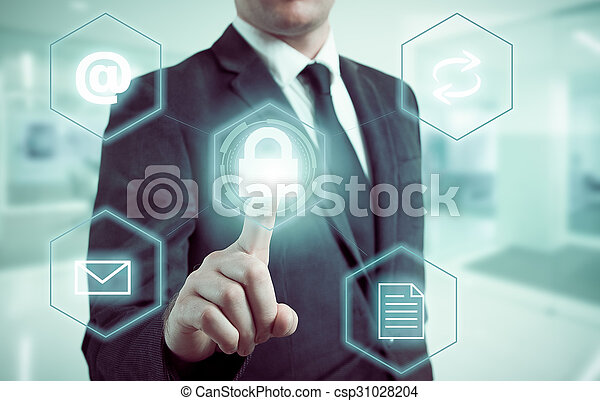 Business concept man pressing selecting data protection - csp31028204
