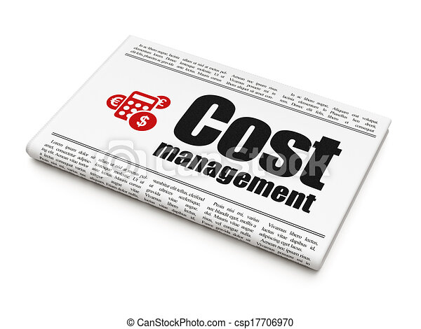 Business concept: newspaper with Cost Management and Calculator - csp17706970