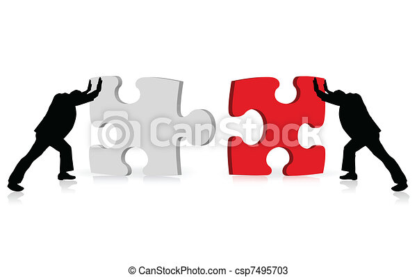 business concept of achievement of success illustrated via puzzle togetherness - csp7495703
