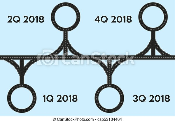 business concept of timeline roadmap task execution plan in road map style infographic for investors vector illustration