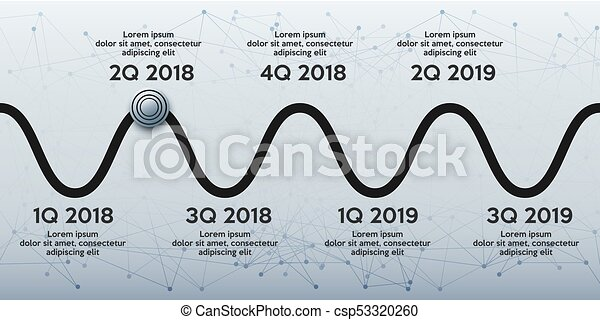 business concept of timeline roadmap task execution plan in road map style wave path with points infographic for investors vector illustration