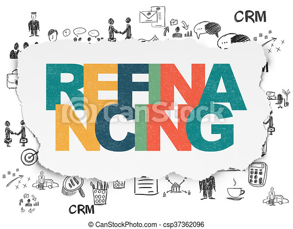 Business concept: Refinancing on Torn Paper background - csp37362096
