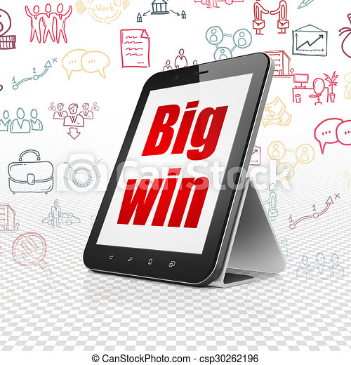 Business concept: Tablet Computer with Big Win on display - csp30262196
