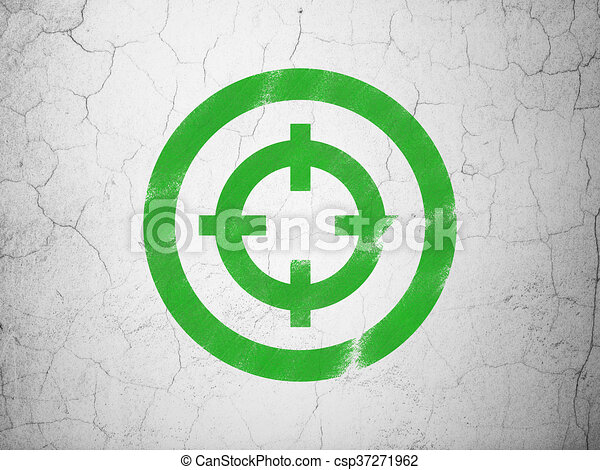 Business concept: Target on wall background - csp37271962