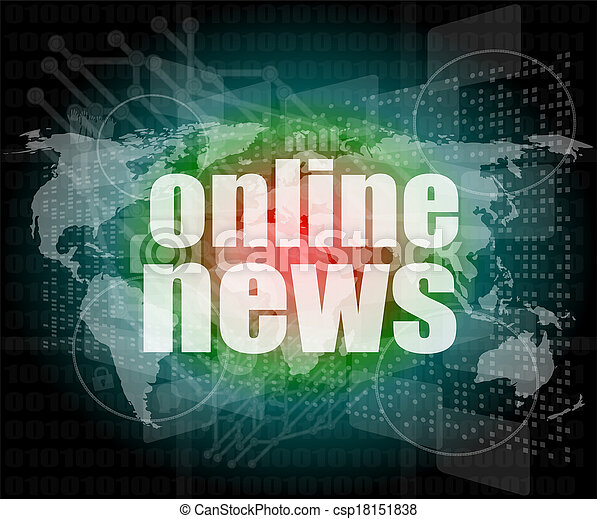 business concept: words online news on digital touch screen - csp18151838