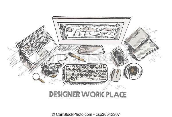 Business concept, working desk, Hand drawn sketch illustration - csp38542307