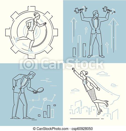 Business concepts - set of line design style illustrations - csp60928050