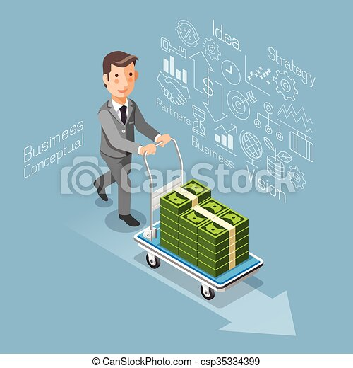 Business conceptual isometric flat style. Businessman pushing a cart with money cash.  - csp35334399