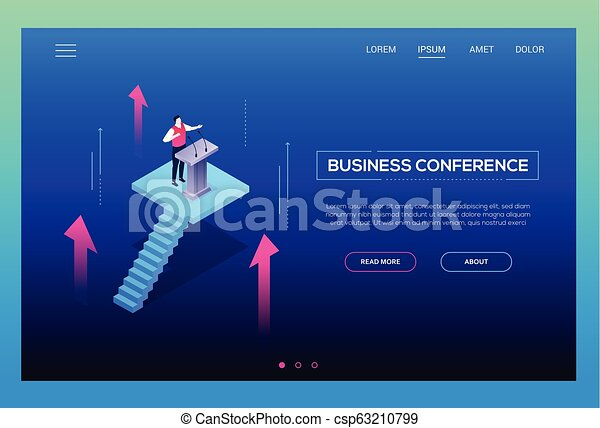 Business conference - modern isometric vector website header - csp63210799