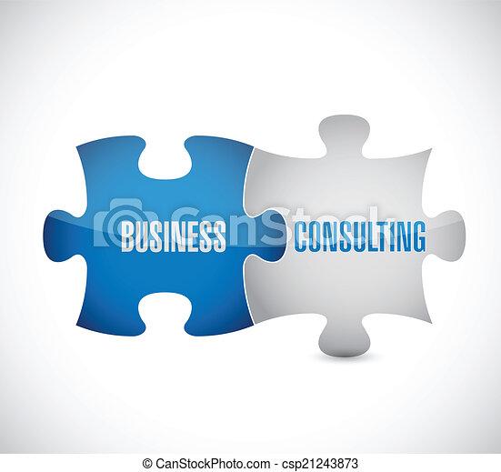 business consulting puzzle pieces illustration - csp21243873