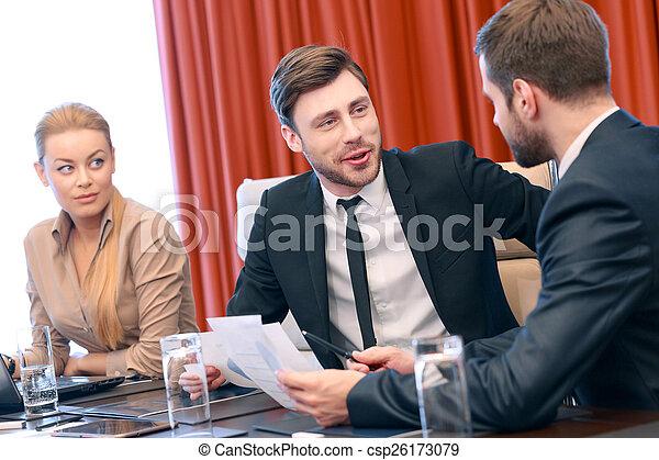 Business conversation at meeting - csp26173079