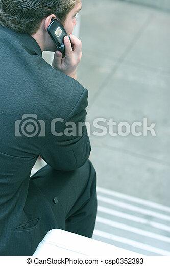 business, conversation, téléphone portable, 3, homme - csp0352393