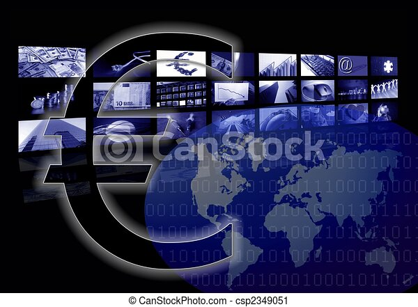 Business corporate, world map, multiple screen, Euro - csp2349051