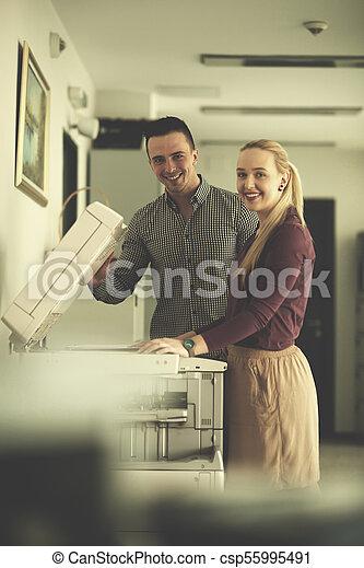 business couple copy documents - csp55995491