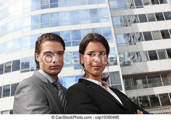 Business couple in the city - csp10390490