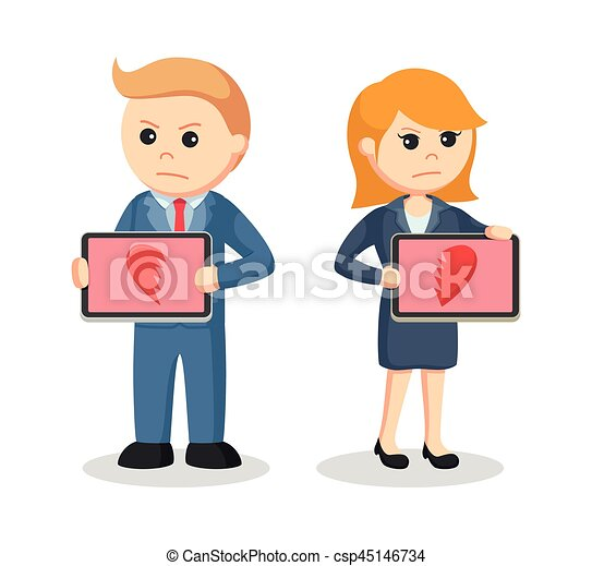 business couple with broken heart icon in their tablet - csp45146734